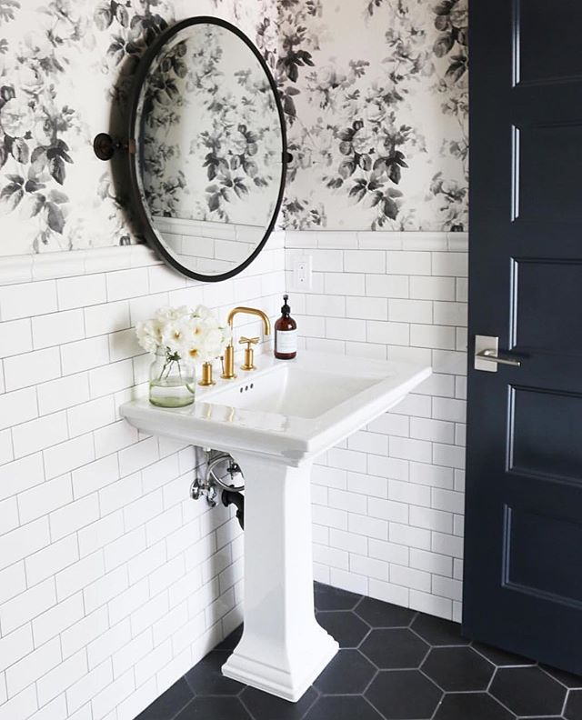 "Hello @studiomcgee and your use of black and white! My son (age 10) picked out these black hex tiles for his bathroom! He came to me saying he wanted ""hotel bathroom  floors"" in his bathroom!  This is our inspiration photo! Last week we started a new hashie  #ClassicSundays. We want to see how you incorporate black and white into your home. It can be anything!!! ❤️ To play: 1) Follow your hosts  @farmfreshhomestead @deniseodonnell8 @nellyfriedel @threetwentyco @mygreyskyehome  @homesweets..."