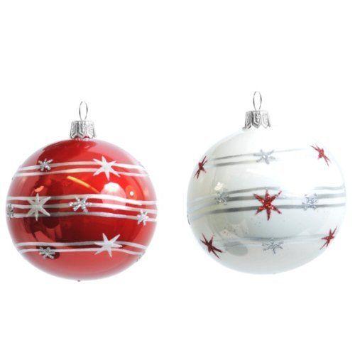 2Stk. Christbaumkugeln GLAS rot und weiß handbemalt, mundgeblasen // Weihnachtskugeln Baumkugeln Baumschmuck Christbaumschmuck Kugel mit Sterne (6cm) , http://www.amazon.de/dp/B00FJYNAQ8/ref=cm_sw_r_pi_dp_AijRsb1Q9B0PQ