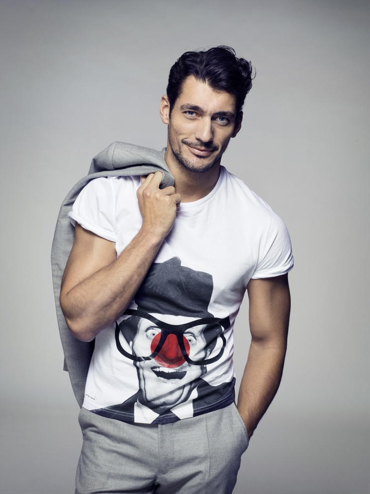 While the weather may be a little chilly out today, David Gandy is certainly heating things up in his Red Nose Day Tee!
