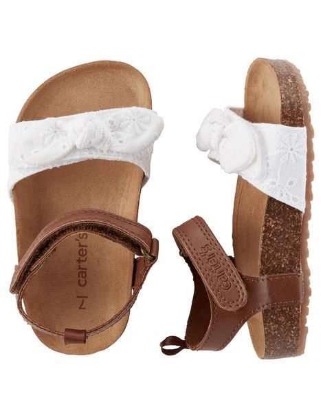 Baby Girl Carter's Eyelet Cork Sole Sandals | Carters.com