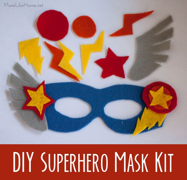 DIY Superhero Mask Kit (and princess mask kits) - these kits are a perfect gift idea for kids! They can decorate their own felt masks! (they also make great party favors)