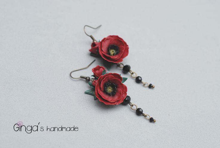 Polymer clay poppies earrings. Handmade.