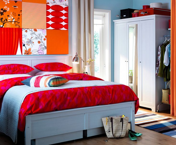 bedroom trendy ikea bedroom decorating ideas with comfortable bed complete with beautiful red heart pattern bed sheet and amazing colorful background bed - Decorating Ideas For Teenage Bedrooms