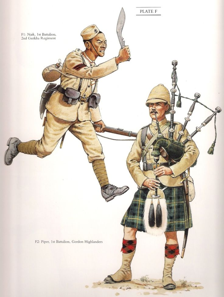 "Naik 1st Battalion 2nd Gurkha Regiment & Piper 1st Battalion Gordon Highlanders c.1989 From "" The Frontier Ablaze"""