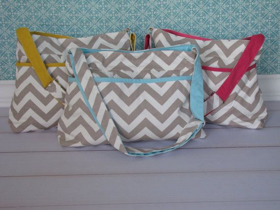 Sale--Cutest Chevron Diapers Bags in Blue, Yellow, and Hot Pink, Great Baby Gift on Etsy, $39.99