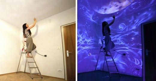 Cuando Apaga Las Luces Sus Murales Se Convierten En Mundos De Ensueño
