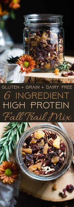 Protein Packed Fall Trail Mix -This quick and easy fall trail mix recipe only uses 6 ingredients and is secretly high in protein! It's a healthy gluten, grain and dairy free portable snack for busy days that is adult and kid friendly!   Foodfaithfitness.com   @FoodFaithFit   Homemade trail mix recipe. sweet trail mix recipe. easy trail mix recipe. trail mix recipe for kids. healthy trail mix recipe. protein trail mix recipe. trail mix for kids. savory trail mix recipe.