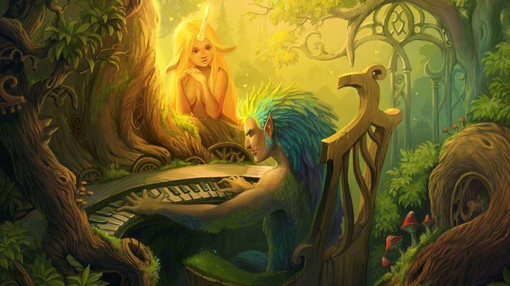Скачать обои взгляд, существа, арт, пианино, рог, девушка, музыка, лесные, лес, раздел фантастика в разрешении 1366x768