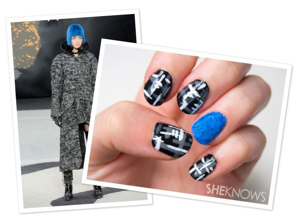 Chanel-inspired tweed and fur nails