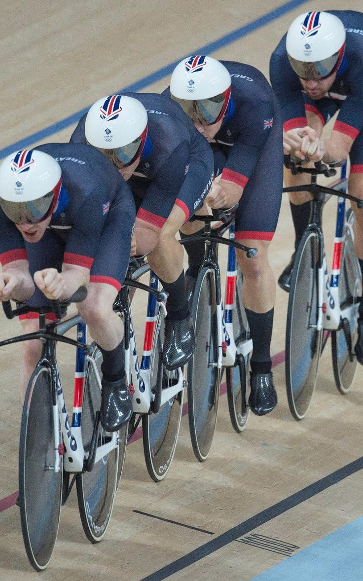 Bradley Wiggins, Edward Clancy, Owain Doull and Steven Burke go in the men's…