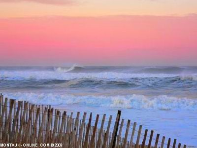 Montauk, Long Island.  Make sure to visit the Lighthouse too.  Sadly the town is starting to resemble a mini-Hamptons, but let's hope it stays a surfing/fishing town