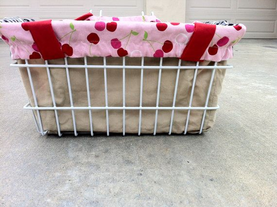 New Item Listed!  Cherries and Black Gingham Tote bag Bicycle Liner