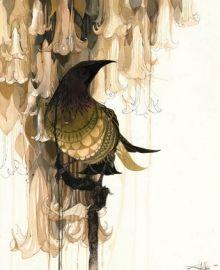 """New Zealand Art Print """"Datura Bellbird"""""""