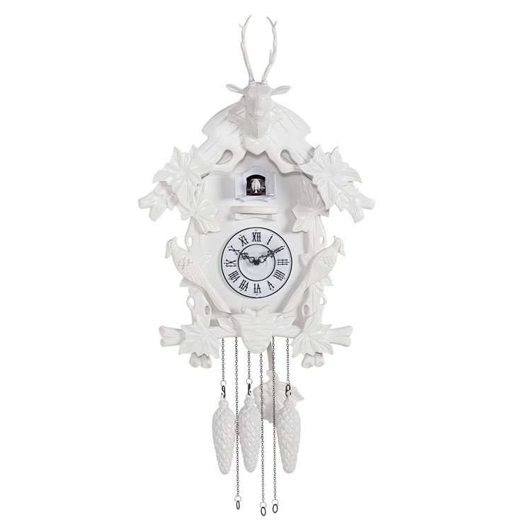 This modern cuckoo clock in high gloss white is a modern interpretation of the traditional cuckoo clock. It can be set to silent or encouraged to CUCKOO so