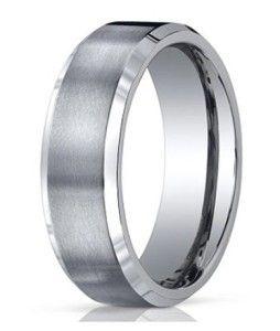 Beautiful Benchmark Men us Comfort Fit Contemporary Titanium Wedding Ring with Satin Finish Center and Polished Beveled Edges Jewelry Fashion Life
