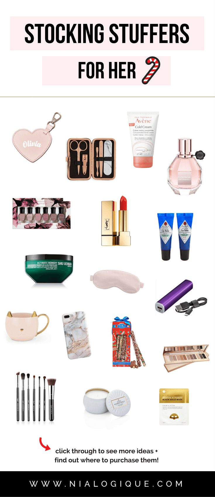 Gift Guide: Stocking Stuffer Ideas For Her | 20 small-sized Christmas gifts for your girlfriend, wife, daughter, friend, coworker, mother, or aunt. | #beauty #giftguide #christmas #holidays #birthday #valentinesday #giftsforher #giftideas