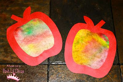 Coffee Filter Apple Craft: coffee filter (1 per apple), red/yellow/green markers, spray