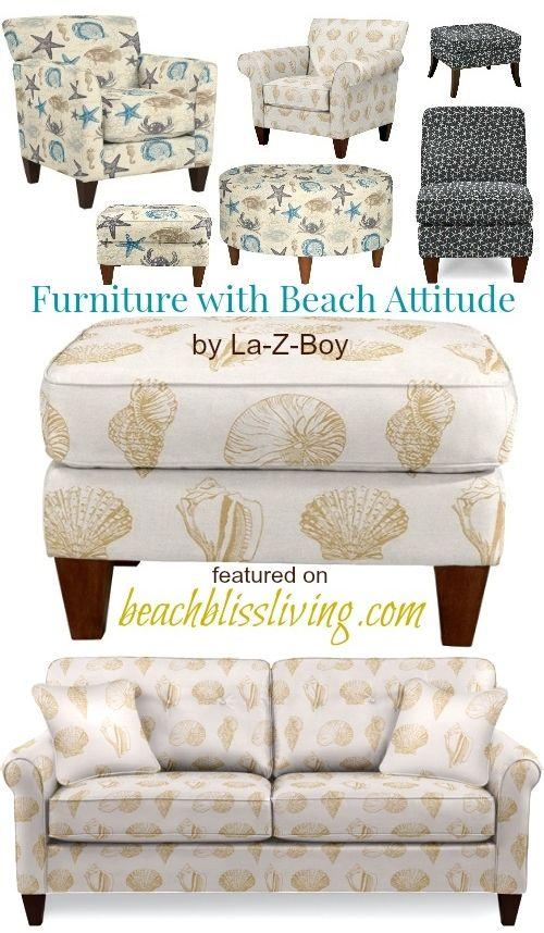 La-Z-Boy | Starfish & Seashell Fabric Upholstered Chairs & Ottomans – Beach Bliss Living: http://beachblissliving.com/upholstered-chairs-ottomans-la-z-boy/