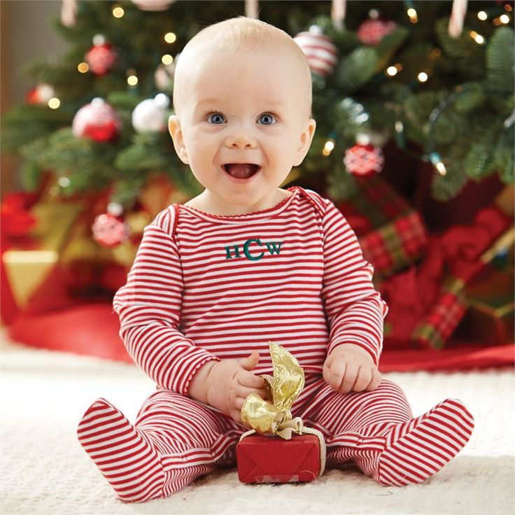 Mud Pie | Christmas Red Stripe Sleeper - super cute for baby's first Christmas pictures. Get it monogrammed with baby's intials