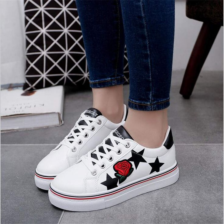 shoes Woman 2016 New spring and autumn Women Flower Flats lace up pu leather Casual Shoes Comfortable Round Toe Flat Shoes