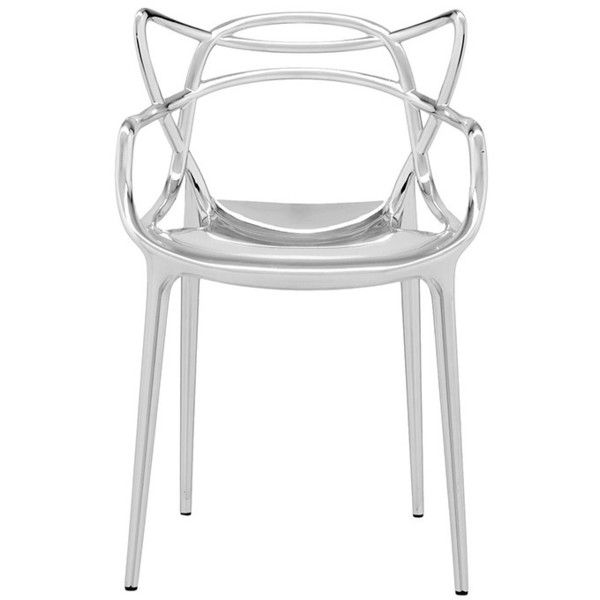 Kartell Masters Chair - Chrome (£347) ❤ liked on Polyvore featuring home, furniture, chairs, metallic, outdoor furniture, home storage furniture, tulip chair, contemporary outdoor chairs and stackable outdoor chairs