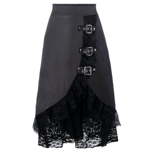 Lace Ruffles Hem Midi Skirt - Black S Mobile