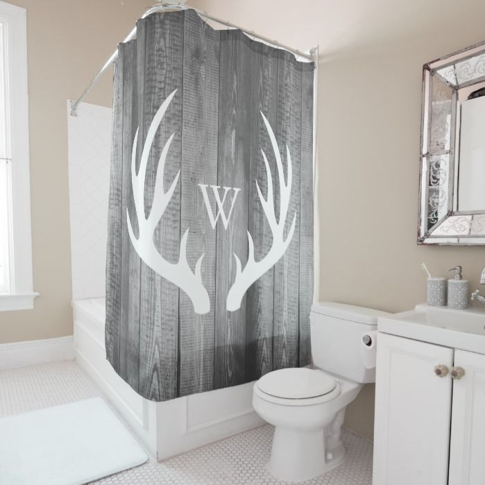 White Deer Antlers Gray Barn Wood Monogram Shower Curtain Zazzle Com Rustic Shower Curtains Shower Curtain Monogram Country Shower Curtain