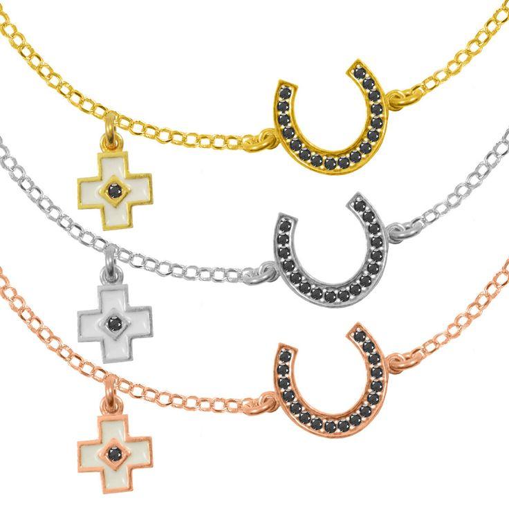 Horseshoe Bracelet Sterling Silver 925,Rose Gold Bracelet,Yellow Gold Bracelet,Tiny Cross,Birthday Gift,Bridesmaid Gift,Lucky Bracelet by AmorAmorSilver on Etsy