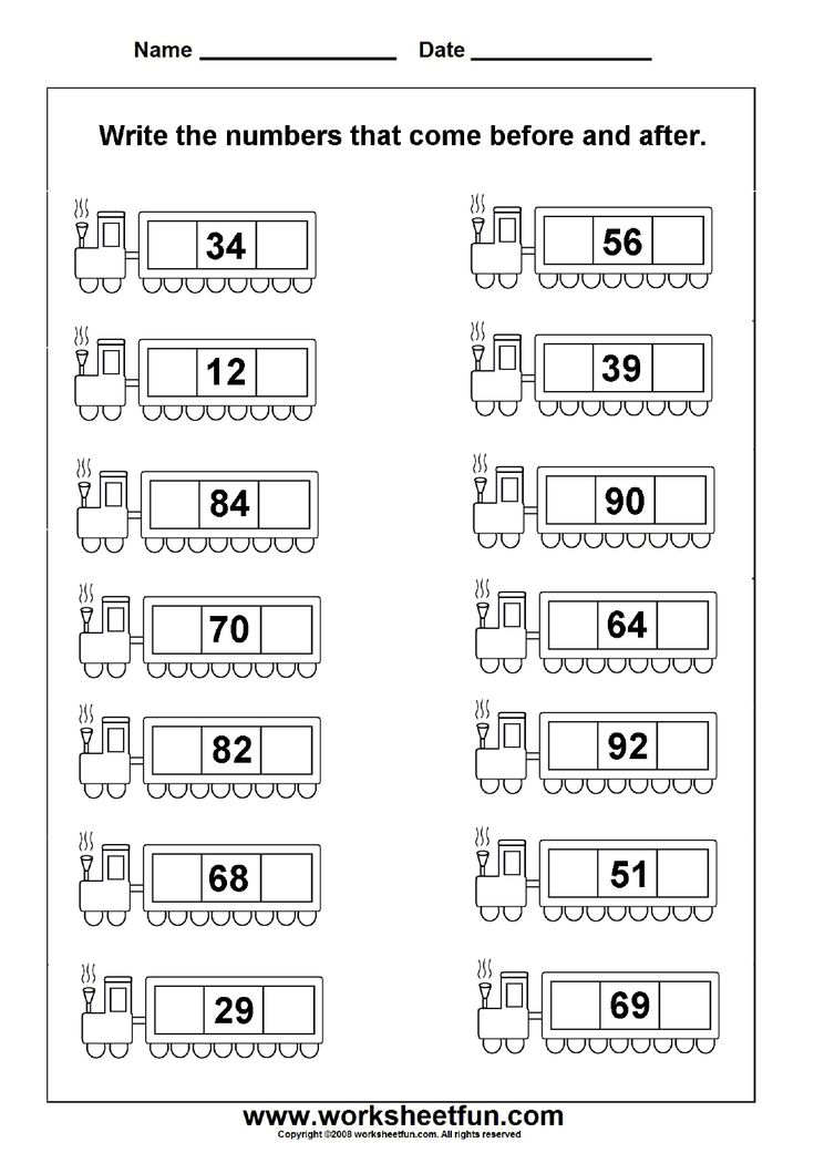 Numbers Before, After and Between 0100 Math worksheets