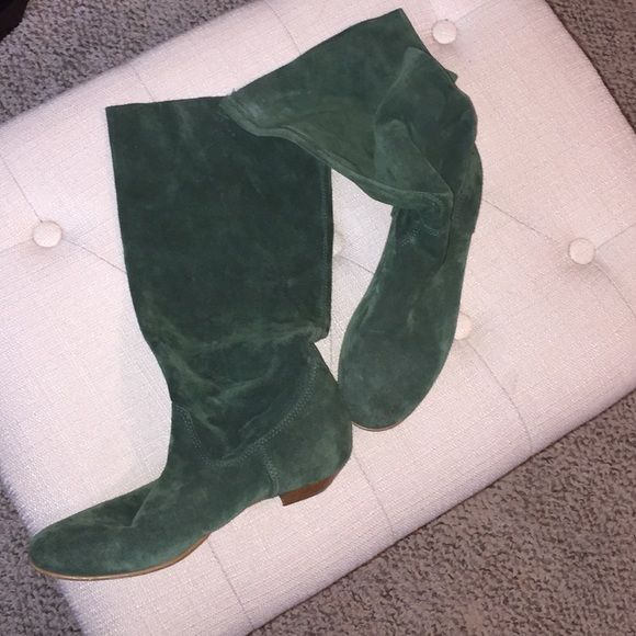 Flat knee boots Hunter green suede flat knee boots, comfortable fit, small water stain on outside top left foot ALDO Shoes Flats & Loafers