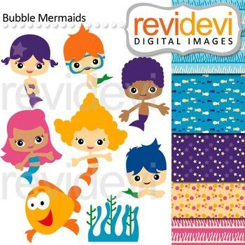 Clip Art Bubble Mermaids Kids Boys Girls Under Water Cute Clipart