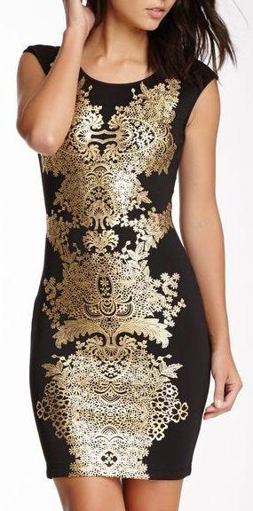 Black Gold Damask Dress ♡ #lbd