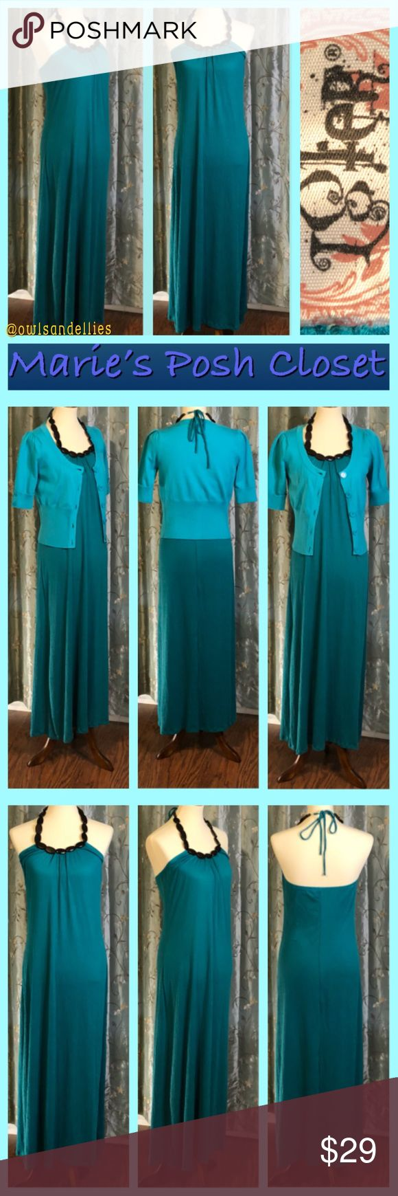 Teal Halter Maxi-Dress Lovely teal maxi-dress with wooden beaded halter collar that ties in back. Super sexy look in a gorgeous shade of teal, soft, comfy knit. EUC. L8ter Dresses Maxi