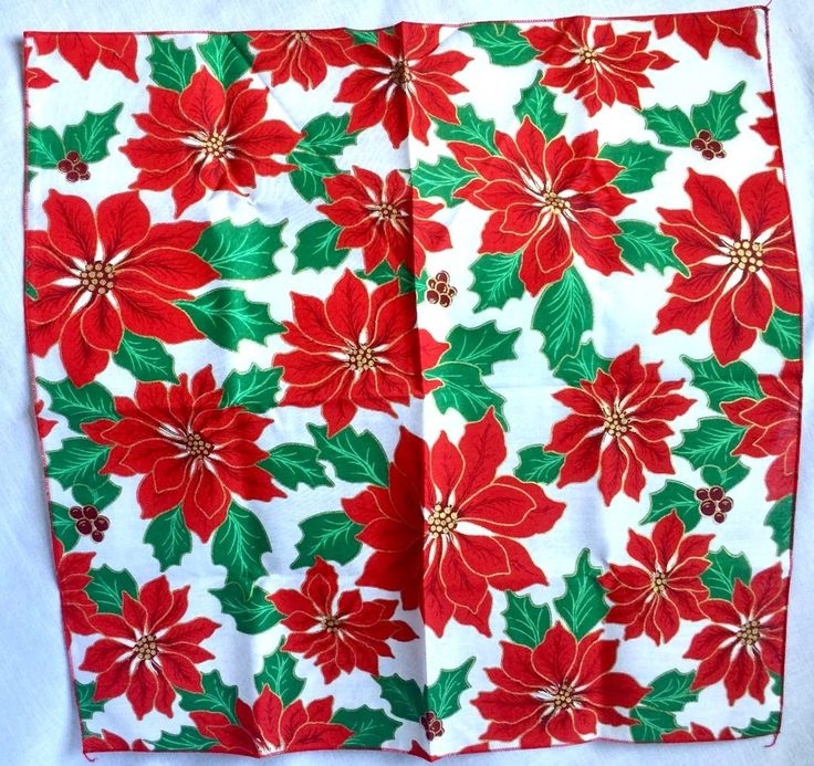 Vintage 1980s Christmas Bandana Poinsettias Red Green Gold New #Unbranded #Bandana
