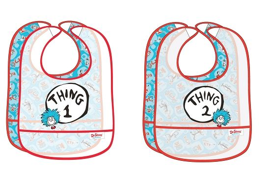 Thing 1 and Thing 2 Waterproof Bib Set only $19.99