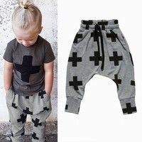 Wish | Kids Baby Unisex Cotton Cross Pattern Bottoms Harem Pants Punk Rock Trousers
