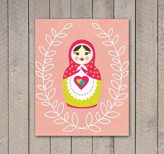 Pink Russian Nesting Doll Print, Matryoshka Printable, Matrioshka, Digital Download, Nursery Print