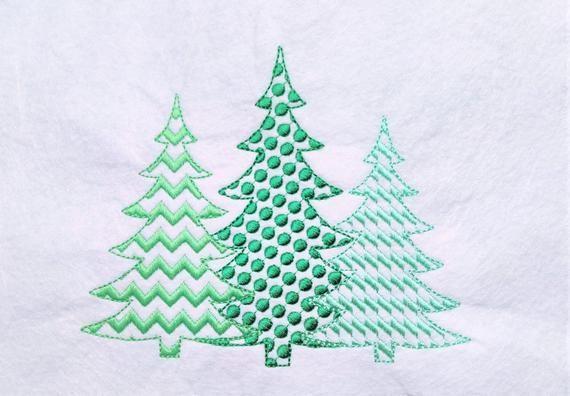 Polka Dot Chevron Woodlands Tree Trio Raggedy Edge Applique Triple Applique Design 3 Christmas Tree In A Row Embroidery Designs 4x4 5x7 6x10 Applique Designs Embroidery Designs Machine Embroidery