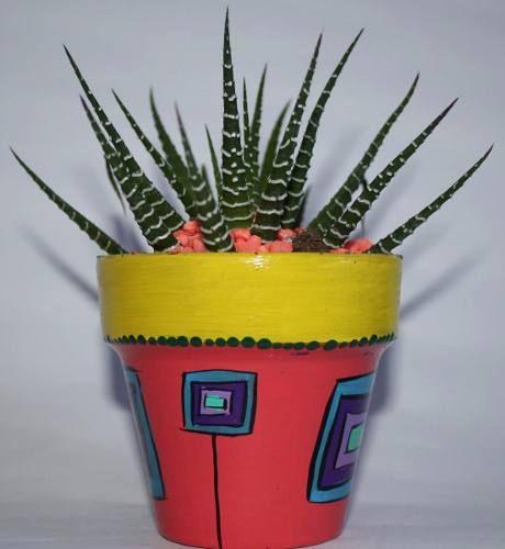 Cactus En Macetas Pintadas A Mano.!