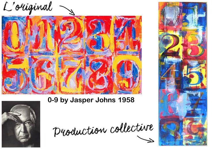 Descritif complet pour créer un tableau à la manière de Jasper Johns avec des petits élèves :-) - my pupils made a good job !