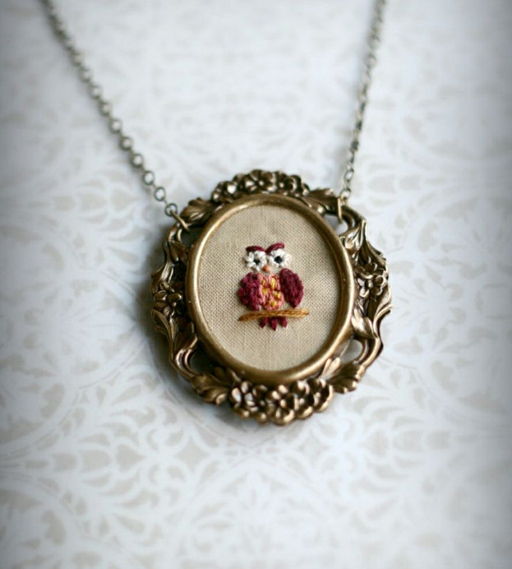 Mrs. Owl - Hand-Embroidered Necklace | Jewelry Necklaces | Poppy and Fern | Scoutmob Shoppe | Product Detail