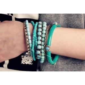 Bohemian Blue Ruby Embellished Multi-Layered Bracelet - ostoreit