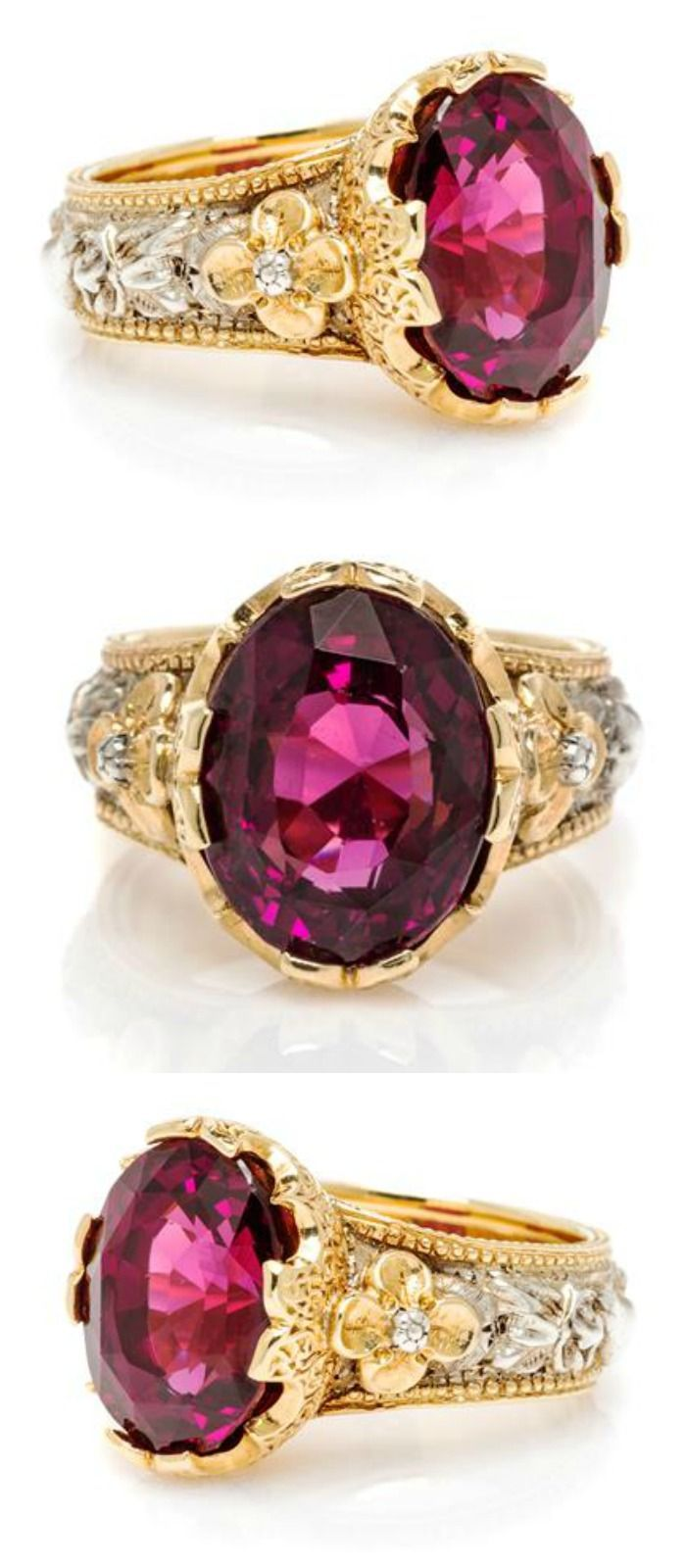 What a beauty! I love this rhodolite garnet ring by Frederico Buccellati - especially the silver and gold designs around the band.