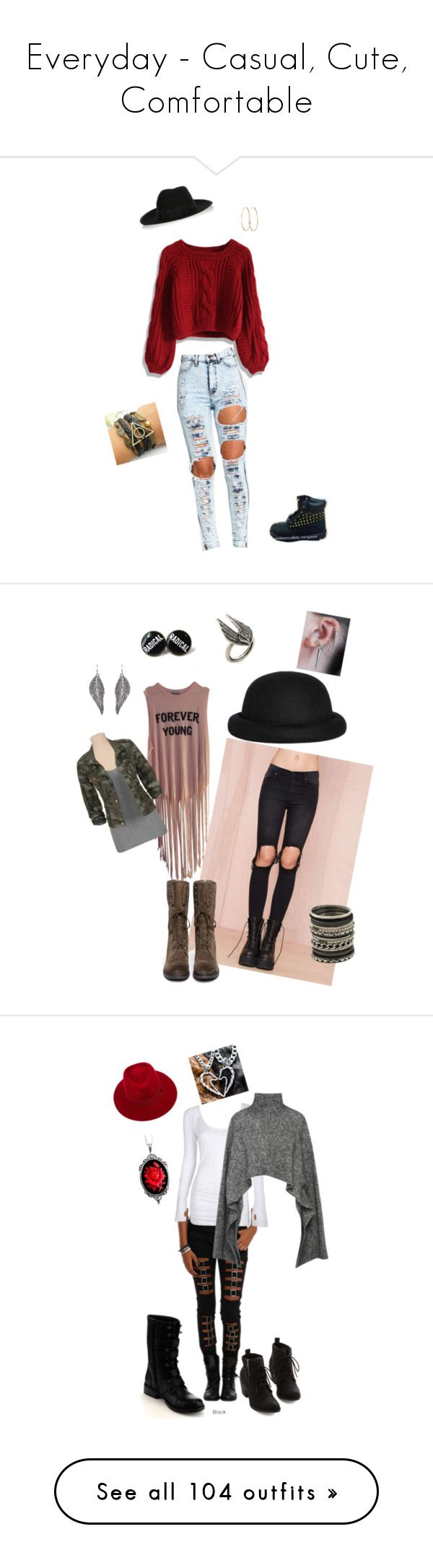 """""""Everyday - Casual, Cute, Comfortable"""" by gypsy4life-13 on Polyvore featuring Chicwish, Timberland, Karl Lagerfeld, Jennifer Meyer Jewelry, Wildfox, UNIF, Sam Edelman, Morgan, ALDO and Lulu Frost"""