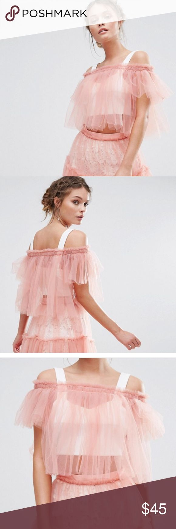 """New True Decadence Bardot Tulle Crop Top Never worn.  True Decadence Bardot Tulle Crop Top Lightweight tulle Frill-seam detail Hand wash 100% Nylon Model shown wears a UK 8/EU 36/US 4 and is 170cm/5'7"""" tall Undergarment not included Size US 8 True Decadence Tops"""