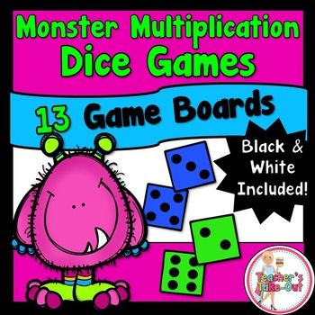 Monster Multiplication Dice Games include 13 game boards! Plus, each game board comes in a black and white copy too! For these game boards, you only need 2 dice, game pieces, and players. These games are designed to just print and play! All games use 2 dice with the factors 1-6. $