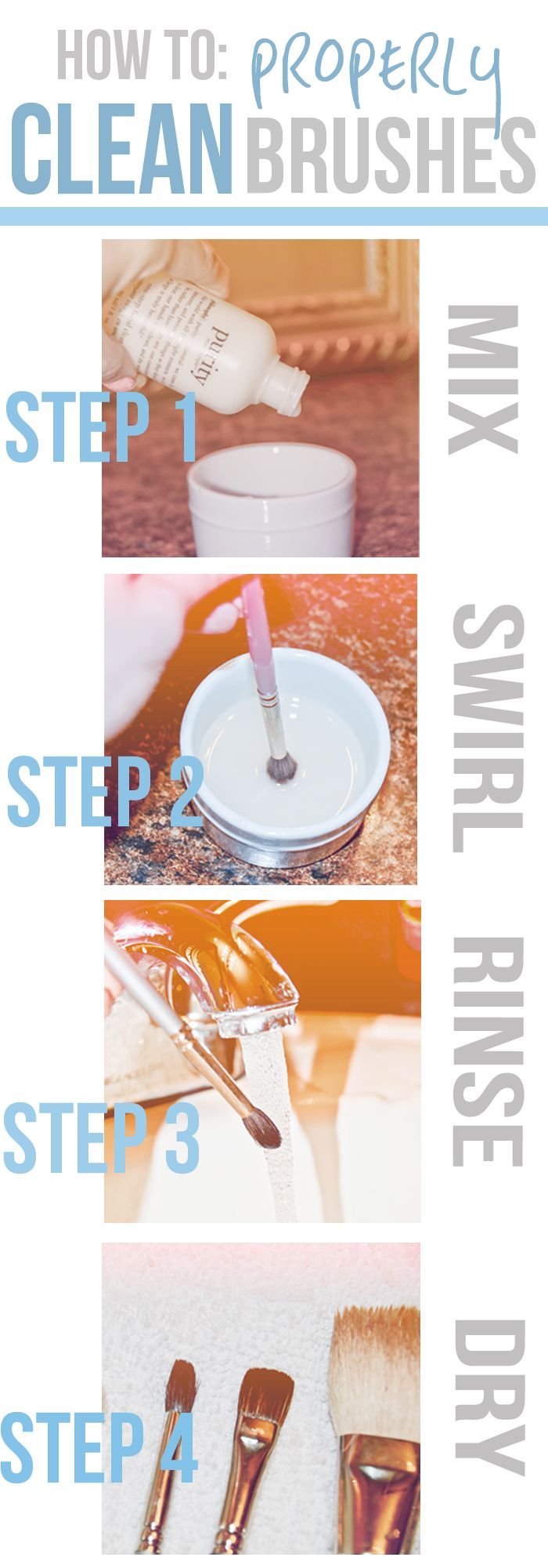 Step by step details and some really helpful do's and don'ts for taking care of your brushes.