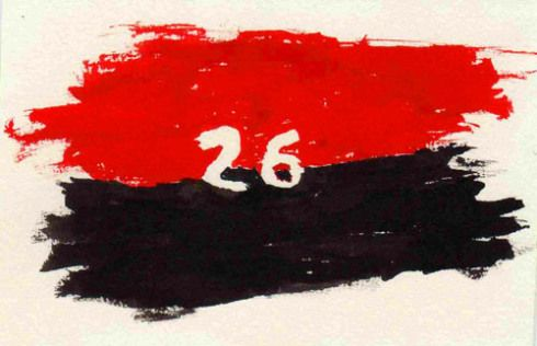 Bandera del Movimiento Revolucionario 26 de Julio (Pintura: Paco Azanza Telletxiki). Salud!.
