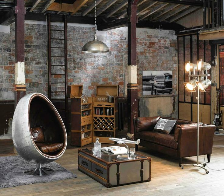 Salon industriel/loft (Maisons du Monde)  Dark Moody Charm Character Industrial Slick Living Lounge Bedroom Interior Style Design  House Home Inspo Inspirational Inspiration Palate Paint Luxe Furniture Dream Goals On trend