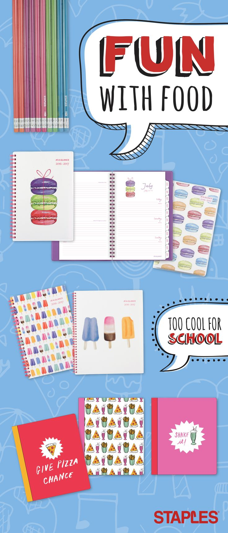 Treat yourself to a selection of school supplies that's anything but bland. From popsicle-clad notebook covers to pizza-themed planners, these everyday school staples will have you salivating.
